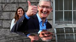 Apple chief executive Tim Cook leaving Trinity College in Dublin