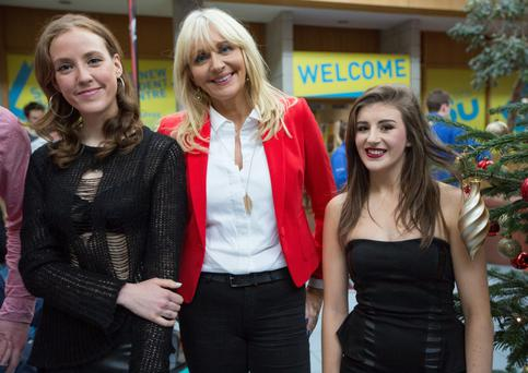Louise O'Neill, Miriam O'Callaghan and Hazel Beattie at the rally.