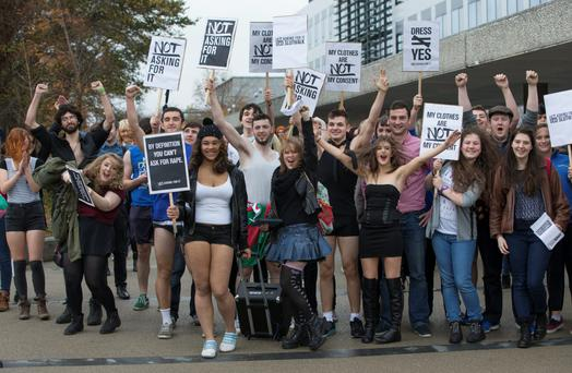 UCD students taking part in the SlutWalk campaign, which calls for an end to rape culture.