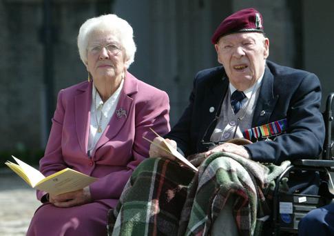 Tommy Meehan with his wife Mary Meehan at the National Day of Commemoration in Royal Hospital, Kilmainham, Dublin, in 2008