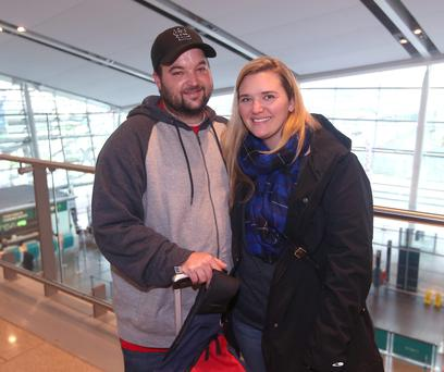 Sean and Lori Murphy, who spent their honeymoon in Ireland, at Dublin Airport. Photo: Damien Eagers