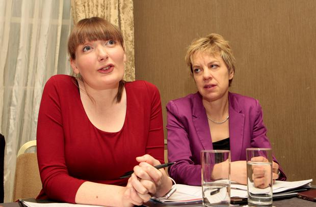 Sinead Ahern, left, chairwoman of Labour Women, and Senator Ivana Bacik at the launch of Labour's framework for the bill to repeal the 8th amendment