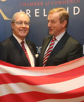 US Ambassador Kevin O'Malley with Taoiseach Enda Kenny at the American Chamber Thanksgiving lunch in Dublin
