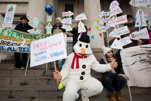 Protesters at the climate change march in Dublin yesterday