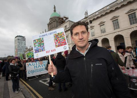 Green Party leader Eamon Ryan at the climate change march in Dublin yesterday