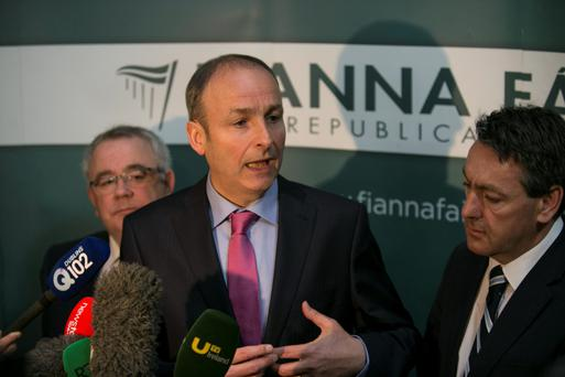 Party leader Micheál Martin and health spokesman Billy Kelleher (right) held 'preliminary discussions' last night to decide whether Fianna Fáil should take a stance on the issue. Picture: Mark Condren