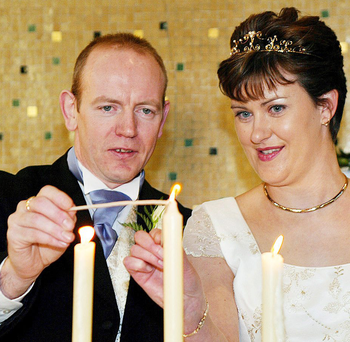 Pearse McCauley and Pauline Tully in their wedding photo in 2003