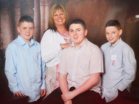 Bridget with her sons Philip (15), Luke (16) and Jake (15)