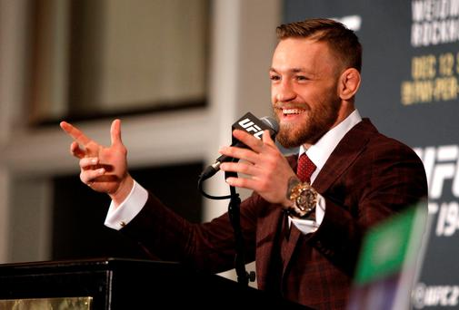 Conor McGregor speaks at a press conference after his 13-second knockout of Jose Aldo in their featherweight title fight during UFC 194 at MGM Grand Garden Arena in the early hours of yesterday