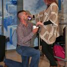 Martin Mulroe pops the question to Louise Mooney. Photo: Colin Keegan