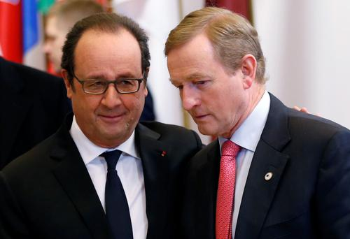 Taoiseach Enda Kenny with French President Francois Hollande in Brussels yesterday. Photo: Reuters