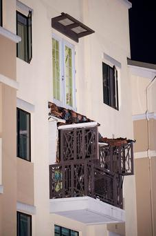 The collapsed balcony at the Library Gardens apartment complex in Berkeley Credit: AP