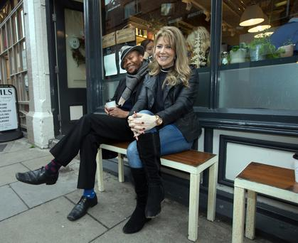 TAKING A BREAK: Bam Artist Artiste and Roisin Corrigan sit outside a cafe on Dublin's Drury Street. Photo: Tony Gavin
