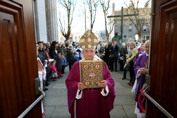 Archbishop Martin at the Pro Cathedral Mass yesterday. Photo: Julien Behal/Maxwell Photography