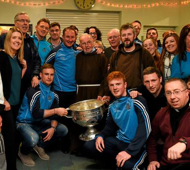 Dublin manager Jim Gavin with Br. Kevin Crowley, Fr Robert McCabe, and Fr Bryan Shorthall, Paul Flynn, Jim Brogan, Paddy Andrews, Davy Byrne, Conor McHugh and Gavin Burke, as they and volunteers help pack some 3,000 Christmas parcels for the homeless at the Capuchin Day Centre on Bow Street, Dublin. Photo: Sportsfile