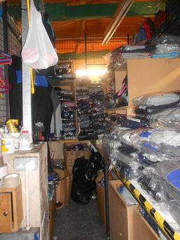 The seizure of counterfeit clothing