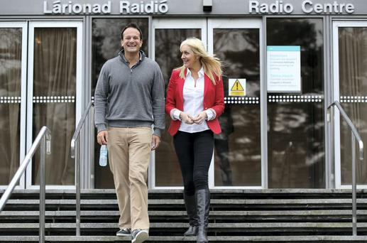 Health Minister Leo Varadkar with broadcaster Miriam O' Callaghan after coming out live on RTÉ radio.