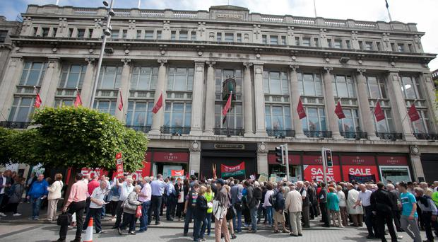 ICONIC: Staff and supporters during a protest outside Clerys on O'Connell Street, Dublin. Photo: Frank McGrath