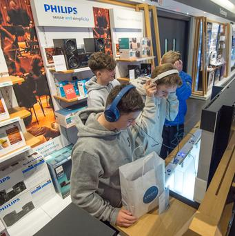Young shoppers browse for bargains in Arnotts in Dublin. Photo: Michael Chester