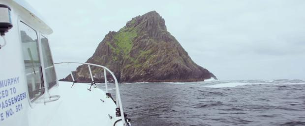 The Star Wars crew approach Skellig Michael