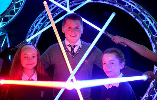 Competing students Shane Curran, 15, from Terenure College, Alexandra Kenny, 14, (left) and Eve Healy, 14, both from Santa Sabina Dominican College. Photo: PA
