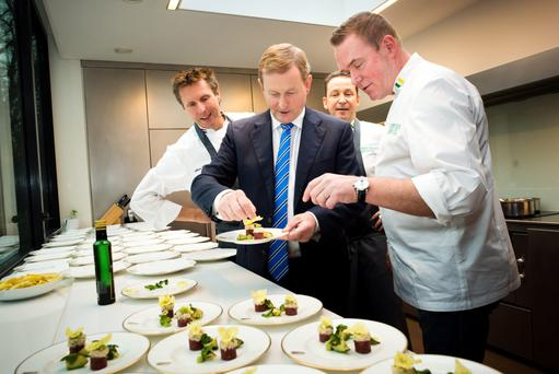 Taoiseach Enda Kenny meets Dutch Michelin star chefs Erik van Loo, Rogier Raissin and Alain Alders at a special luncheon organised by Bord Bia. Photo: Frank Van Beek
