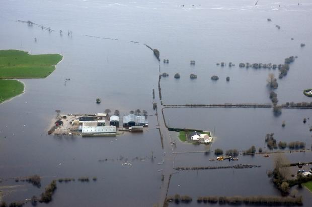 Cover of water: Properties in Co Galway after the flooding this week. Photo: Defence Forces