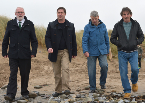 The crew of the trawler Marita Ann - Sinn Féin TD Martin Ferris, Gavin Mortimer, Mike Browne and Johnny McCarthy - at Banna Strand in Co Kerry for a 1916 Sinn Féin centenary event. The vessel, with a shipment of IRA arms, was intercepted in 1984 and Ferris and Browne jailed for 10 years. McCarthy and Mortimer received suspended sentences Photo: Domnick Walsh