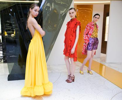 Brown Thomas launch the brand new Spring Summer International fashion collections at the flagship Grafton St store. Pictured (l to r) Thalia wears Stella McCartney Dress eur3445, Tabea wears Lanvin dress eur2165 and Maria wears Dries Van Noten. Photograph: