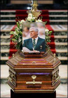 The remains of Christy O'Connor Jnr at Galway Cathedral ahead of his funeral mass. Photo: Steve Humphreys