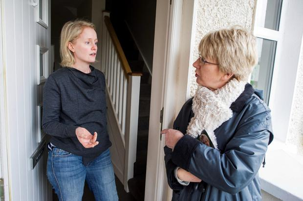 Mary Hanafin speaks to Jennifer Adams while canvassing in Sallynoggin, Dun Laoghaire. Photo: Doug O'Connor
