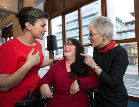 Conference: MC and former Rose of Tralee Maria Walsh talks to Rosaleen McDonagh and host Senator Katherine Zappone at the Fempower event in Tallaght. Photos: Tony Gavin