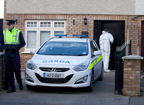 Gardaí and forensic team members at the house on Lealand Road, Clondalkin, Dublin, where 'body in the suitcase' murder victim Kenneth O'Brien was last seen. Photo: RollingNews.ie