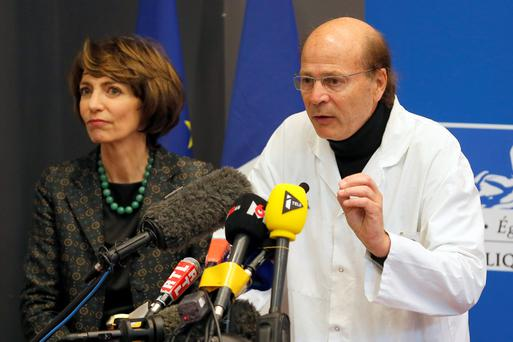 Botched test: French Health Minister Marisol Touraine, left, and Professor Gilles Edan, the chief neuroscientist at Rennes Hospital.