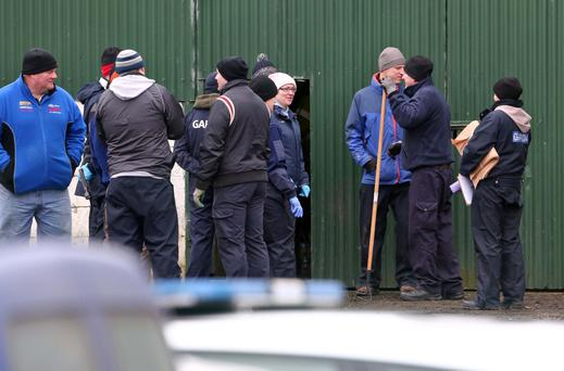 Gardaí search for evidence close to where the dismembered body of Kenneth O'Brien was found at the weekend. Photos: Colin Keegan
