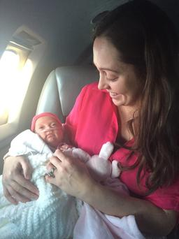 Jenny Drake and Baby Zoe pictured flying into Nashville on an Air Med International critical care hawker jet