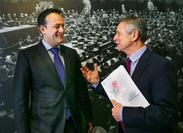 Health Minister Leo Varadkar and Alan Connolly, chairman of Coolmine Therapeutic Community, at the 'Pathways Through Treatment' launch at the Mansion House in Dublin. Photo: Maxwells
