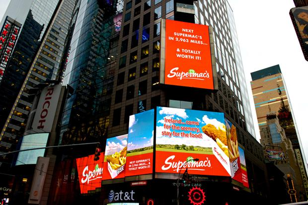 Supermac's Pat McDonagh has promoted the chain on a display in Times Square – but McDonalds has challenged use of the brand outside Ireland