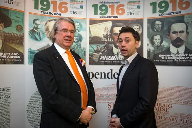 At the Irish Independent's and Whyte's Auctioneers' '1916 in your attic' event in the Gresham Hotel were auctioneer Ian Whyte and Daire Whelan, the Irish Independent's 1916 co-ordinator. Picture: Arthur Carron