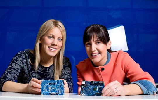 Teachers Christine Carew and Bernie O'Driscoll from St Nessan's Community College pictured at the Intel coding exploration day in Leixlip, Co Kildare. Photo: Marc O'Sullivan
