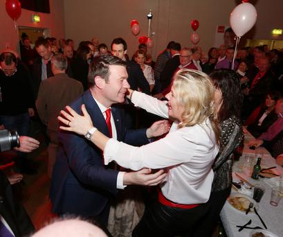 Labour Party deputy leader Alan Kelly embraces a supporter at his campaign launch in Nenagh on Saturday. Photo: Liam Burke