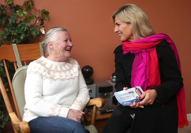 Councillor Maria Bailey speaks to Rosemary Fitzgerald as she canvasses in Blackrock yesterday. Photo: Damien Eagers
