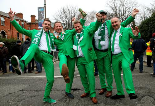 Irish fans before the match. Photo: PA
