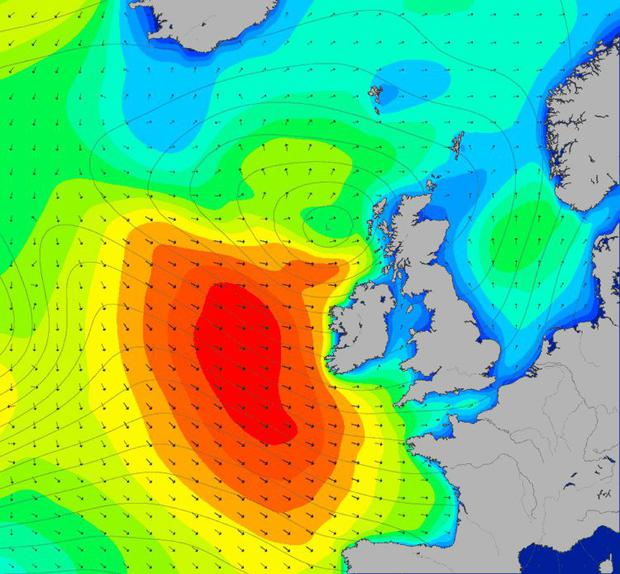The wave swell off the Irish coast. Graphic courtesy of MagicSeaweed.com