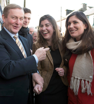 Taoiseach Enda Kenny canvasses in Ballaghaderreen, where he met candidate Maura Hopkins and her lookalike friend Laura Mannion Photo: Andrew Downes