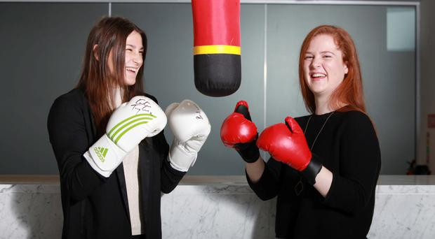 Katie Taylor, and student Anna McKenna, from Scoil Mhuire, Wellington Road, Cork, at the event promoting STEM choices. Photo: Diane Cusack