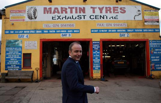 Fianna Fáil Leader Micheál Martin in Lifford on his tour of Donegal. Photo: Brian McDaid