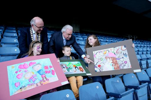 RTE's Marty Whelan and Brian McCrory of the ILCU with Niamh Power from Wexford, Benjamin Franklin from Tipperary and Meabh Egan from Thurles. Photo: Maxwells