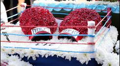 A boxing ring floral tribute