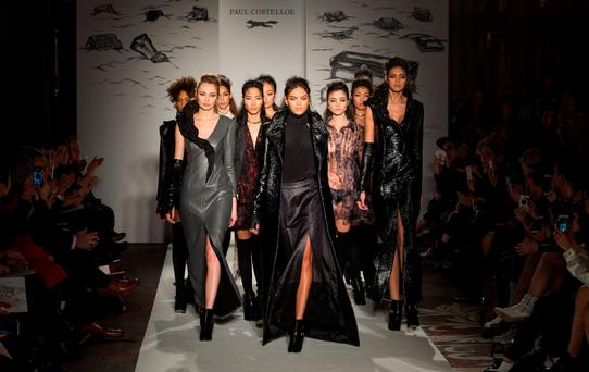 RAVE REVIEWS: Models showcasing Paul Costelloe's new autumn/winter collection in the Meridian Hotel on Piccadilly during London Fashion Week. Photos: Samir Hussein/Getty Images